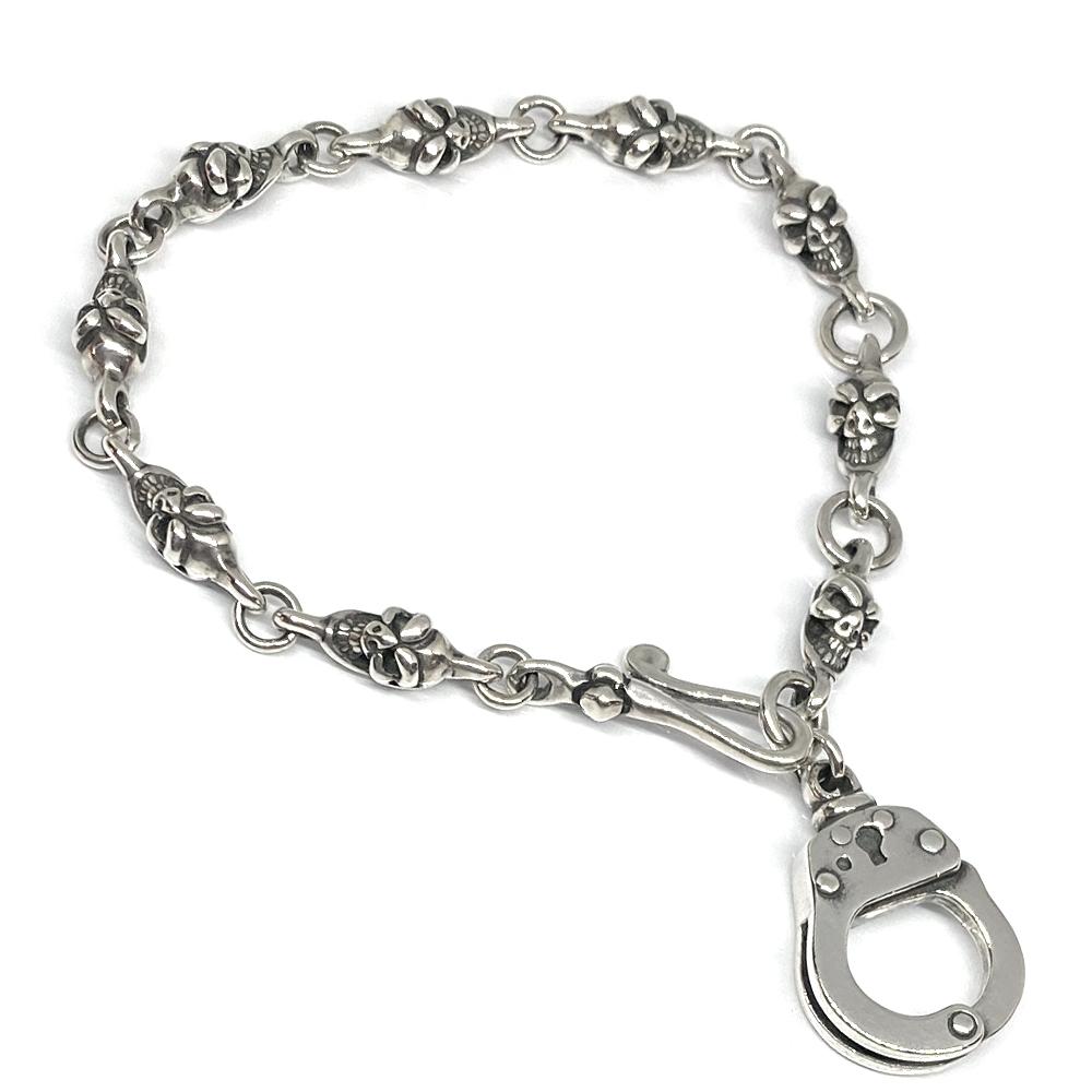 Leather Braides Skull Bracelet (レザーブレイドスカルブレスレット)